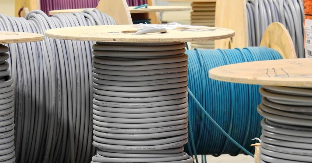 Drums of colored cable wire