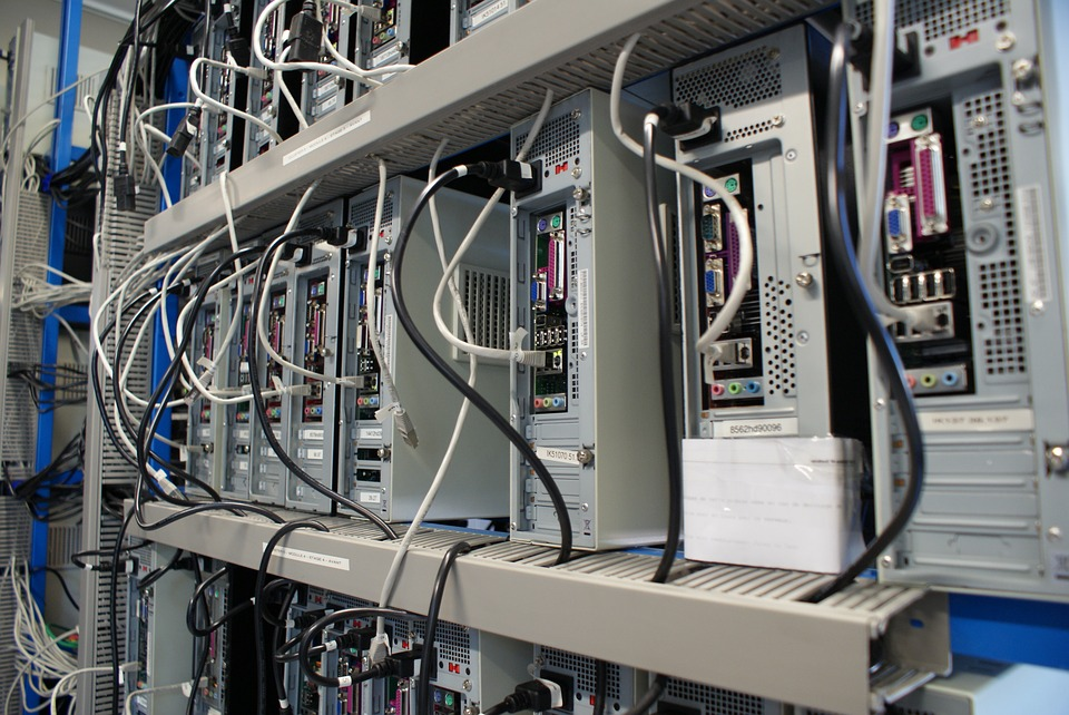 white data center servers and cables